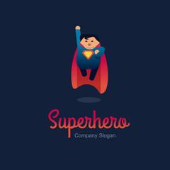 Superhero logo concept. Fat character flying. Flat style.