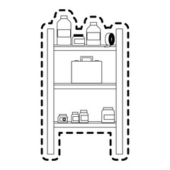 shelf with first aid kit icon image vector illustration design