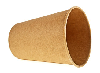 Brown paper cup isolated on a white background