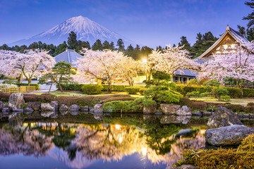 Gardens and Mt. Fuji in spring from Shizuoka, Japan.