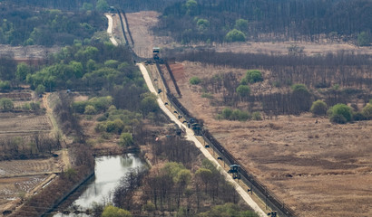 Fences marking the border between North Korea and South Korea in the Korean demilitarized zone