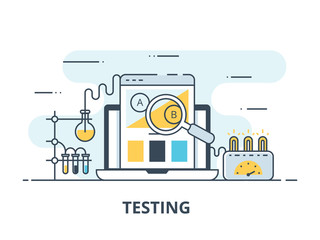 Software testing flat icon. Software testing vector illustration. Flat design. Software testing successful