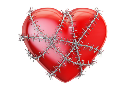 Red heart with barbed wire, 3D rendering