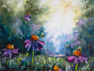 Landscape with flowers and bees - Original oil painting on canvas - Hand painted - Modern Art