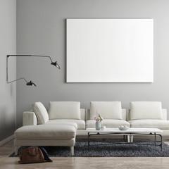 White poster in Scandinavian living room, 3d illustration