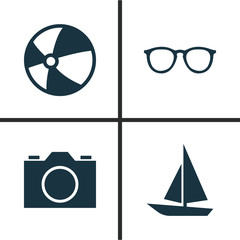 Sun Icons Set. Collection Of Bead, Video, Ship And Other Elements. Also Includes Symbols Such As Bead, Sunglasses, Sea.