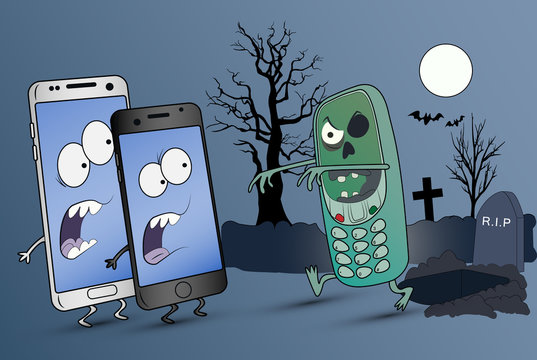 An old serial zombie phone scares smartphones in the cemetery