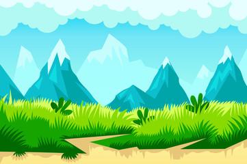 cartoon mountain landscape. vector