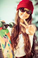 Peace Sign Skater Girl