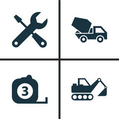 Building Icons Set. Collection Of Service, Digger, Cement Vehicle And Other Elements. Also Includes Symbols Such As Cement, Tools, Excavator.