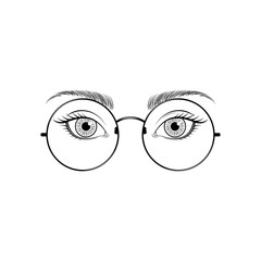 Women's eyes with glasses. Vector