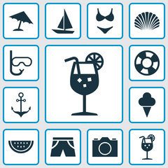 Hot Icons Set. Collection Of Melon, Bikini, Conch And Other Elements. Also Includes Symbols Such As Photo, Ice, Camera.