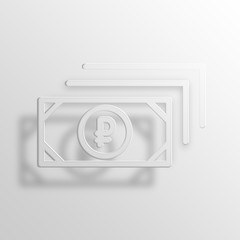 russian ruble 3D Paper Icon Symbol Business Concept