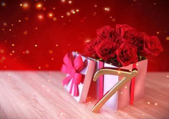 birthday concept with red roses in gift on wooden desk. seventh. 7th. 3D render