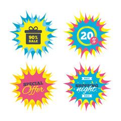 90 percent sale gift box tag sign icon.