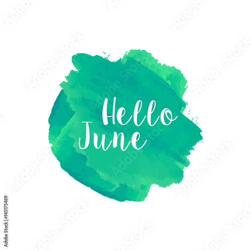Hello June Watercolor Wallpaper Greeting Card Banner