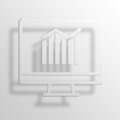 Monitor 3D Paper Icon Symbol Business Concept