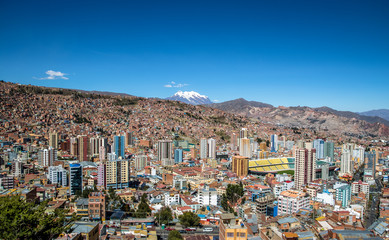 Aerial view of La Paz with Illimani Mountain on background - La Paz, Bolivia