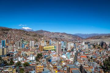 Aerial view of La Paz with Illimani Mountain on background - La Paz, Bolivia