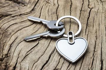 Heart-shaped keys in the wood