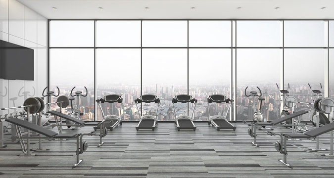 modern style fitness and gym with city and sky view