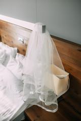 White veil of the bride. Wedding in Montenegro.