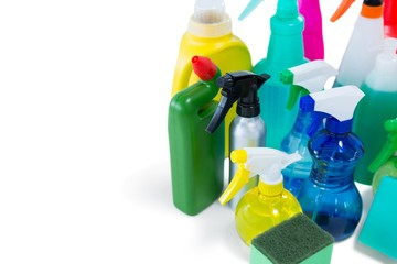 High angel view of colorful spray bottles
