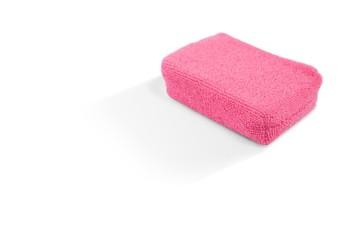 High angle view of pink bath sponge