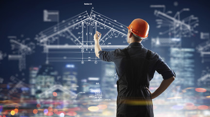 Builder man draw project . Mixed media . Mixed media