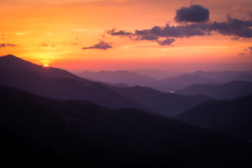 Sunrises and Sunsets in the Blue Ridge and Smoky Mountains in the Southeastern United States are stunning.