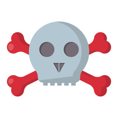 Grunge danger scary skull symbol vector illustration human bone horror art dead skeleton.