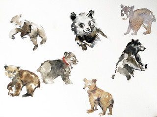 Watercolor Bears collage