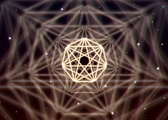 Magic heptagon symbol spreads the shiny mystic energy in spiritual space