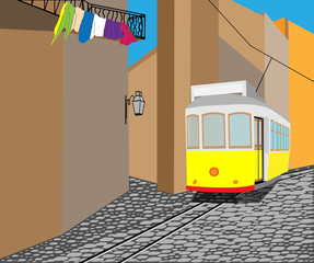 tram on street, Lisbon, Portugal