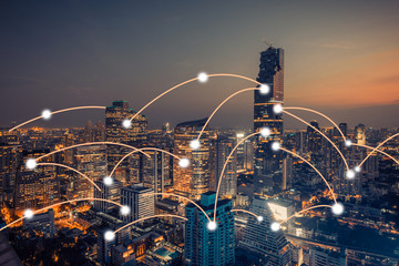 Bangkok city scape and network connection concept