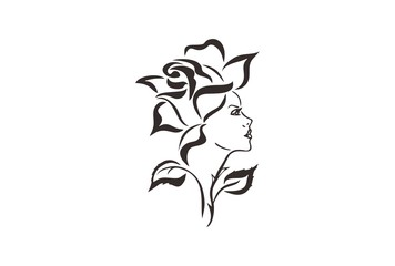 Beautiful Woman and rose  tribal tattoo design, back to nature concept