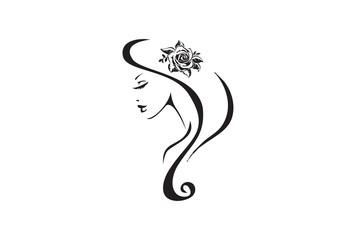 Beautiful Woman and rose  tribal tattoo design