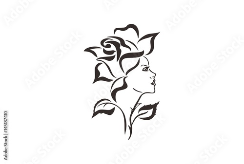 Beautiful Woman And Rose Tribal Tattoo Design Back To Nature