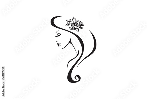 Beautiful Woman And Rose Tribal Tattoo Design Stock Image And