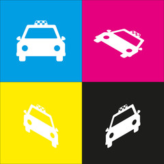 Taxi sign illustration. Vector. White icon with isometric projections on cyan, magenta, yellow and black backgrounds.
