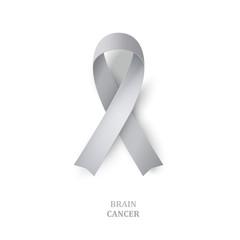 Grey awareness ribbon as symbol of  brain disorders