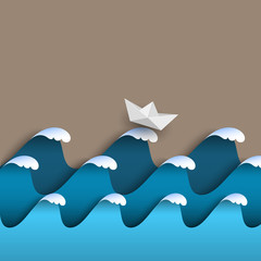 Origami paper waves with sea foam and ship
