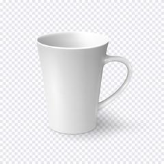 White coffee mug isolated on transparent background