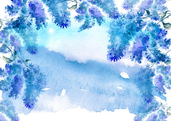 Watercolor vintage postcard with the branches of the flowering bush of lilac, bird cherry. Beautiful flowers. Invitation, card, postcard, cover. Abstract blue background