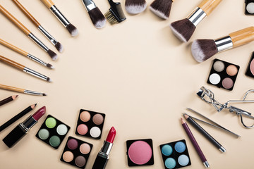 Makeup Brushes And Make-up Products Set Arranged In A Circle