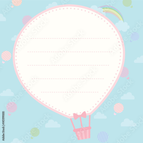 Cute notepad design with hot air balloon shape on background sky – Notepad Template Word