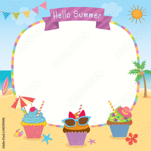 Cupcakes Design For Summer Season Decorated On Beach Background For