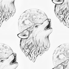 Seamless drawing of a wolf howling at the moon on a white background.