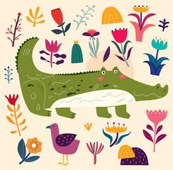 Illustration with cute crocodile and bird