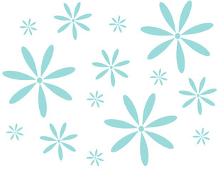 Seamless simple flat pattern with light blue spring flowers on a white background.